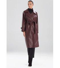 natori faux leather trench coat, women's, deep garnet, size xs natori