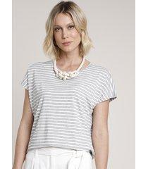 blusa feminina ampla listrada manga curta decote redondo cinza mescla