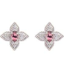 'princess flower' diamond tourmaline 18k white gold stud earrings