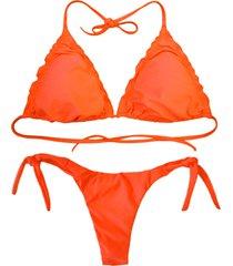 biquãni cortininha divance havana neon   calcinha ripple 613 - laranja - feminino - poliamida - dafiti