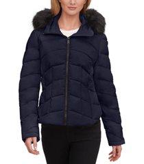 calvin klein faux-fur-trim hooded stretch puffer coat