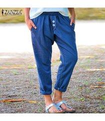 zanzea las mujeres largas pantalones casuales suelta anchas piernas elástico de la cintura pantalones llanura del tamaño extra grande -azul