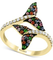 effy multi-gemstone (3/8 ct. t.w.) and diamond (1/4 ct. t.w.) dolphin tail bypass ring in 14k gold
