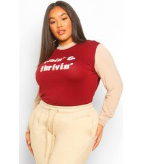 plus thrivin slogan longsleeve t-shirt, burgundy