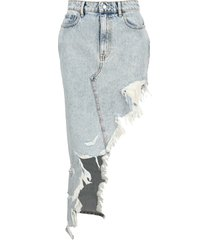 alexander wang asymmetric frayed denim skirt
