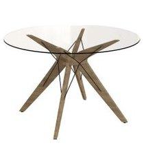 mesa de jantar redonda com tampo de vidro austin incolor e freijó 120 cm