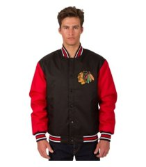 jh design chicago blackhawks men's poly-twill 2 color jacket