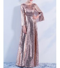 long sleeve rose-gold maxi sequin dress women maxi sequined evening wedding gown
