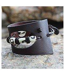 men's leather and bone bracelet, 'cut and run' (ghana)