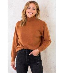 button col sweater cognac