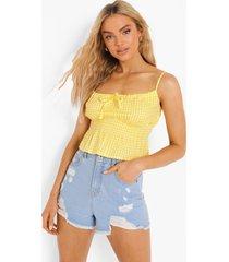 gingham hemdje met strik, yellow