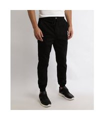 calça de sarja masculina jogger slim com bolsos preta