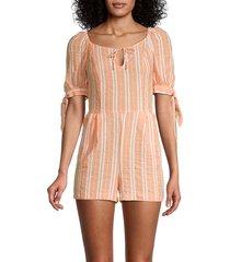 bcbgeneration women's striped romper - orange - size l