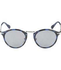 49mm faux tortoiseshell round sunglasses