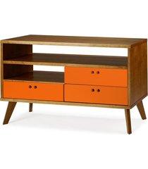 rack para tv até 47 polegadas 3 gavetas holly 120 cm 505 nogal/laranja novo - maxima