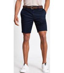 river island mens navy dylan slim fit belted shorts