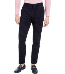 dkny men's slim-fit stretch navy blue seersucker stripe suit pants