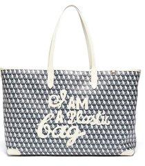 'i am a plastic bag' logo appliqué anagram print canvas tote