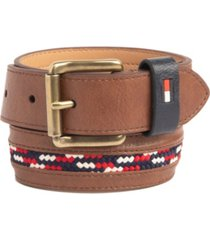 tommy hilfiger big boys casual belt with woven laced inlay