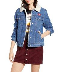 women's dickies faux shearling lined denim jacket