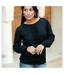 100% alpaca sweater, 'midnight illusion' (peru)