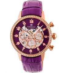empress beatrice automatic purple leather watch 38mm