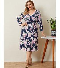 abrigo con estampado floral y cuello en v de talla grande diseño cinturón diseño mangas largas vestido