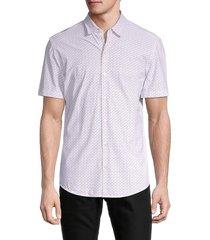 boss hugo boss men's robb geometric-print shirt - light pink - size l