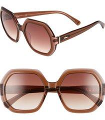 longchamp heritage 55mm gradient lens geometric sunglasses in brown/rose at nordstrom