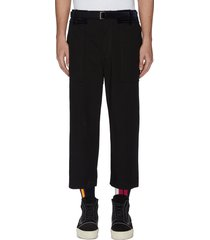 belted velvet patch crop pants