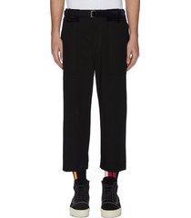 belted velvet patch crop pants