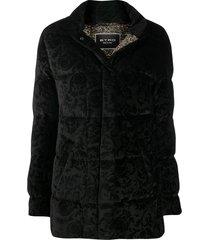etro all-over motif padded jacket - black