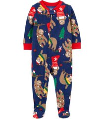 carter's toddler boy 1-piece christmas fleece footie pjs