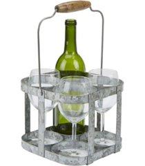 mind reader rustic farmhouse bottle carrier, 4 wine bottle caddy