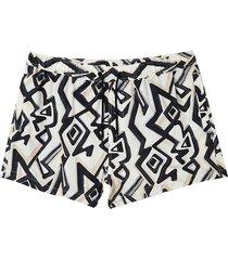 river island mens cream abstract print swim shorts