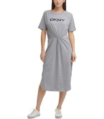 dkny solid drawstring-waist logo dress