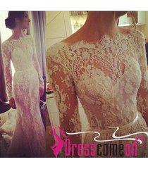 beautiful new hot mermaid long sleeves white lace wedding dress/bride dress ba65