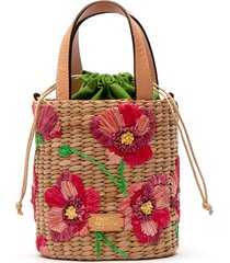 frances valentine small embroidered bucket bag - red