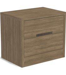 mesa de cabeceira 2 gaveta nogal de madeira marrom - marrom - dafiti