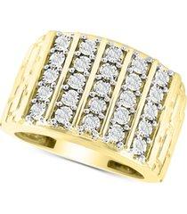 men's diamond vertical cluster ring (1/2 ct. t.w.) in 10k gold
