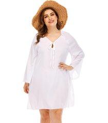 plus talla blanca sin respaldo diseño escote en v manga larga cubrir ropa de playa vestido