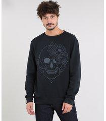 blusão masculino em moletom com estampa de caveira e flor preto