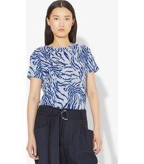 proenza schouler zebra short sleeve t-shirt pale blue/cobalt animal xs