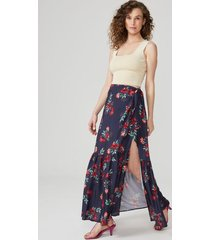amaro feminino saia longa pareô com babado, rouge flowers