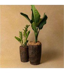 conjunto de vaso de madeira macuco cor: marrom - tamanho: único