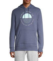 hurley men's coastal dunes fleece hoodie - dark blue - size m
