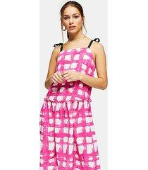 petite pink check tie tiered drop waist midi dress - multi bright