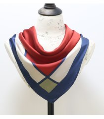 moda donna vintage geometric silk small kerchief simple lattice stripe small square thin scarf