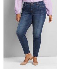 lane bryant women's signature fit high-rise skinny jean - center seam 28 dark denim