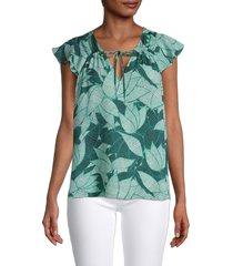 parker women's hannah printed blouse - palm breeze - size s